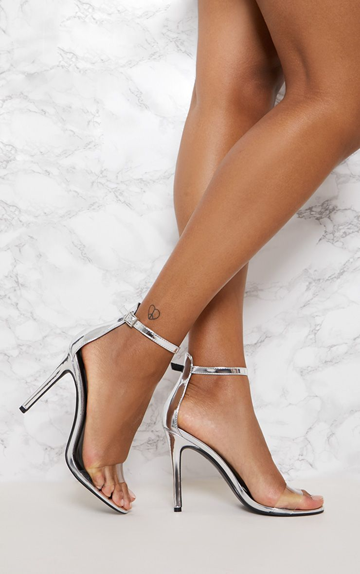 75a9adb6a6f Silver Patent Clear Strap High Heels in 2019 | Products | Heels ...
