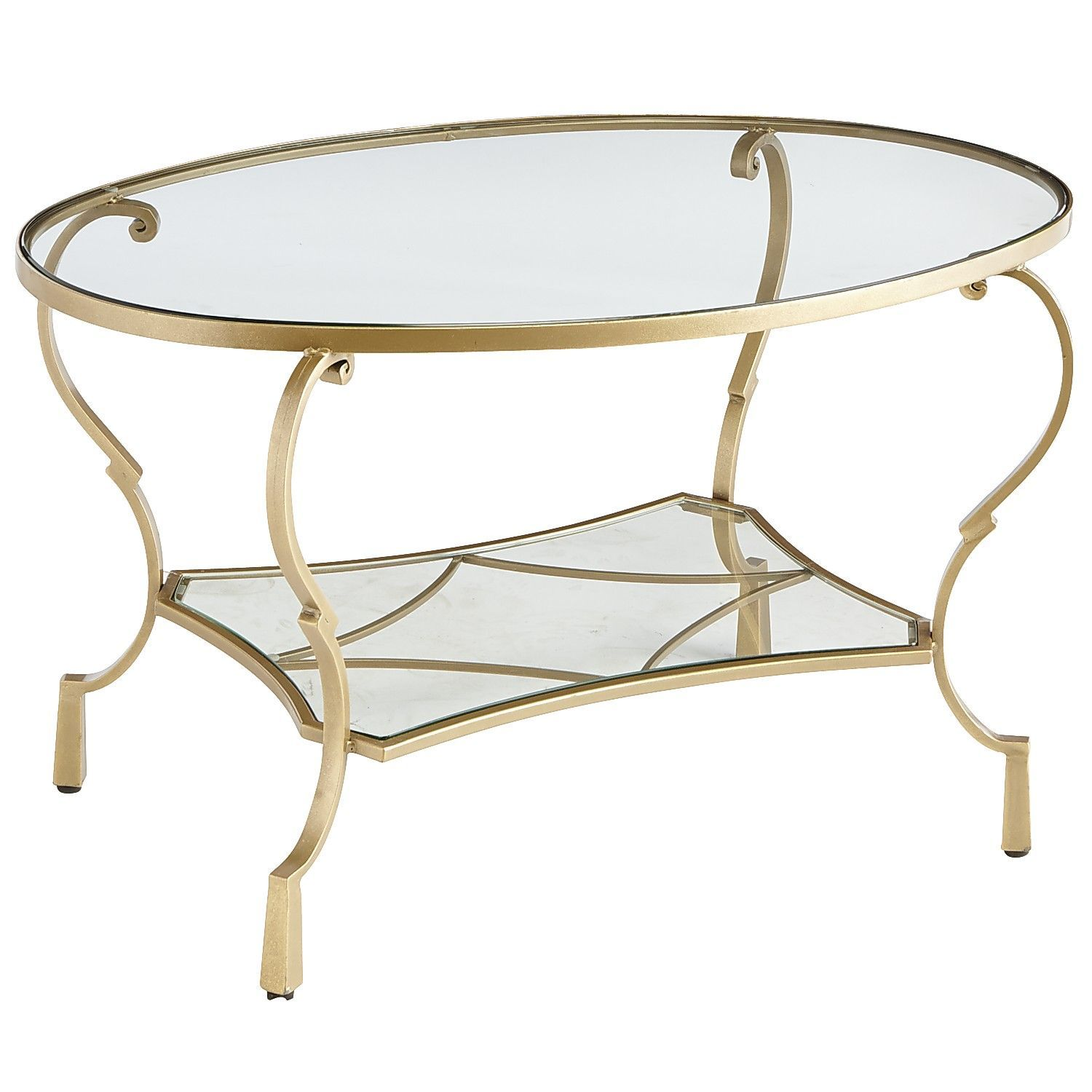 Chasca Glass Top Gold Oval Coffee Table