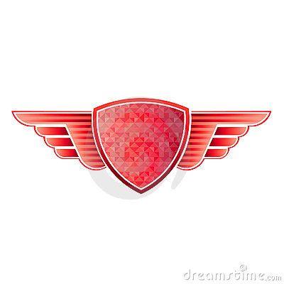 Red Shield Wings Logo Icons Logos Graphic Design Logos Wings