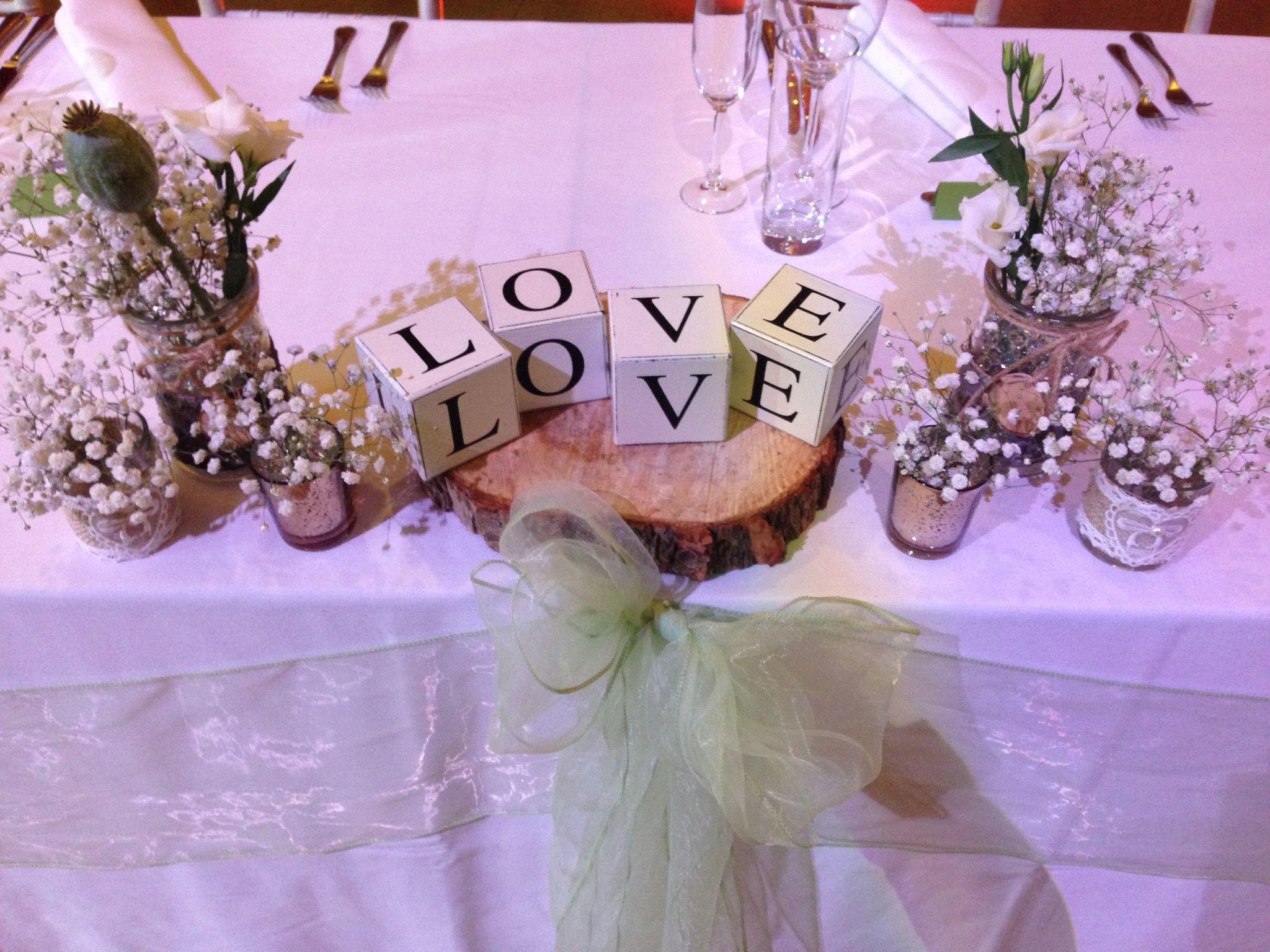 Thoresby Riding Hall LOVE Wedding table decoration centre