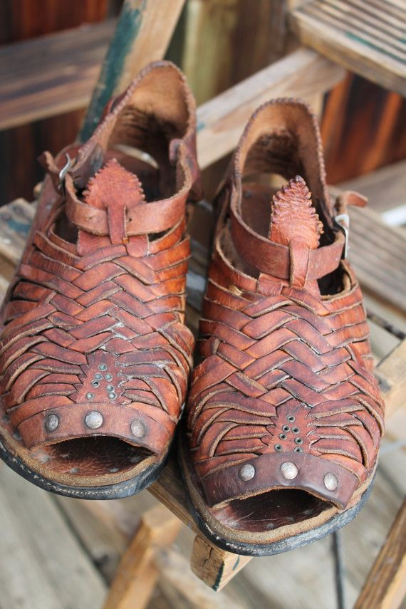 b21b132c793f vtg. old school leather HUARACHES tire tread sole by Taite ...
