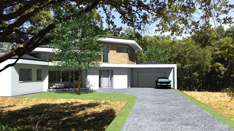 Maison contemporaine d 39 architecte toiture tuiles noires et casquettes b ton toulouse mid - Architecte toulouse maison contemporaine ...