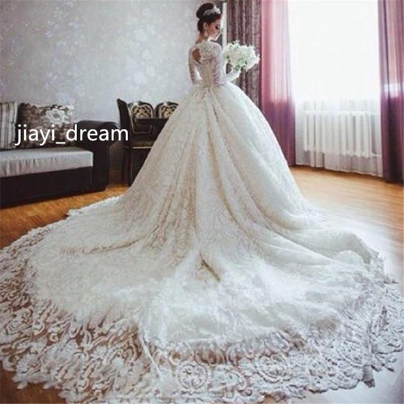 2016 Luxury Islamic Muslim Wedding Dress Custom Made Bridal Gown