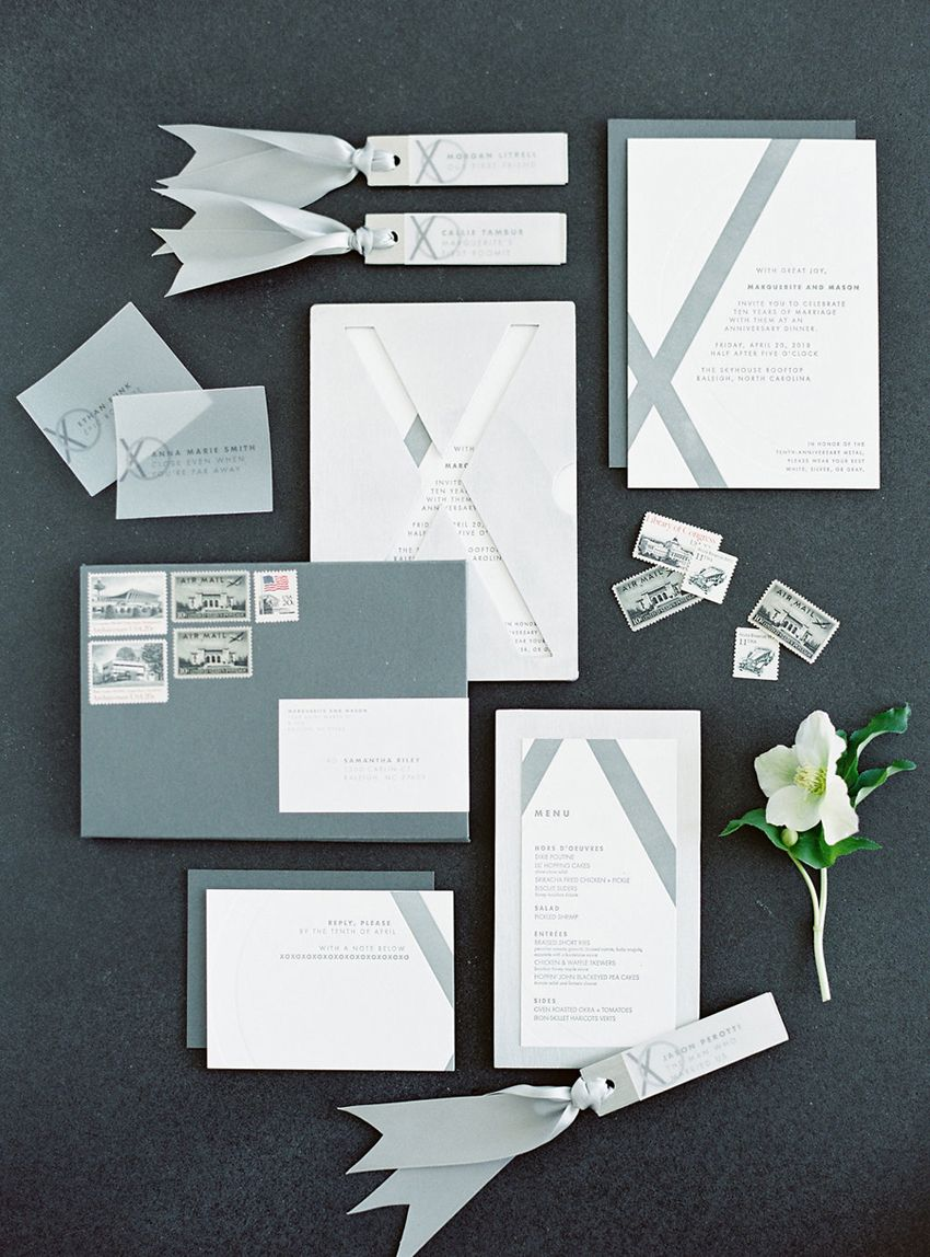A 10th anniversary invitation suite by A Fine Press, styled by ...