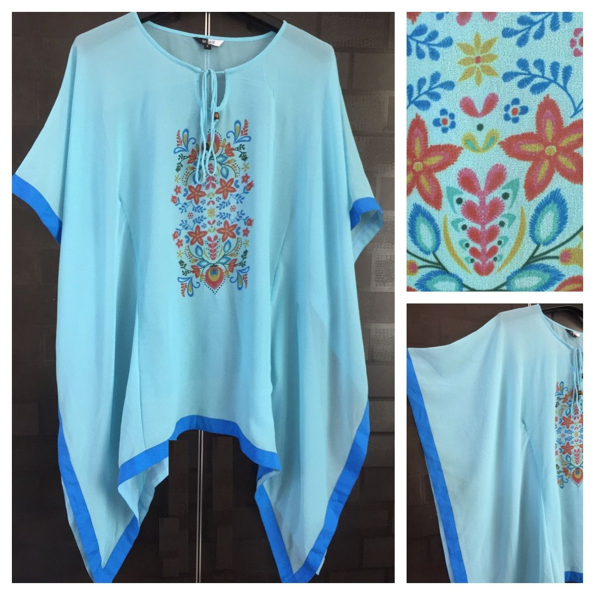 In store now: The Pretty Blue K..., visit http://ftfy.bargains/products/the-pretty-blue-kaftan-top-with-front-floral-geometric-design-1?utm_campaign=social_autopilot&utm_source=pin&utm_medium=pin  #amazing #affordable #fashion #stylish