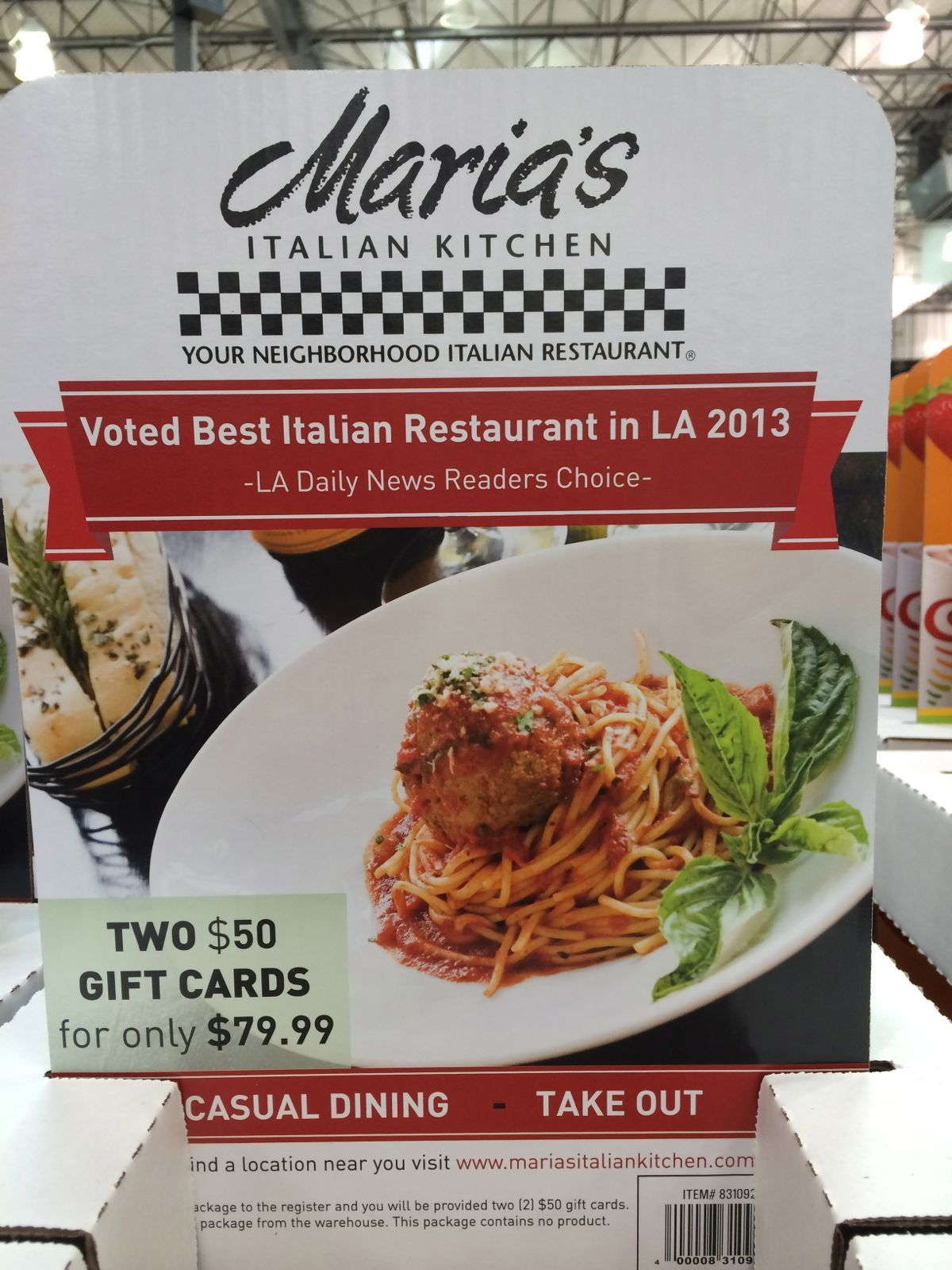 Maria\'s Italian Kitchen Gift Cards at Costco! 2 x $50 cards for ...