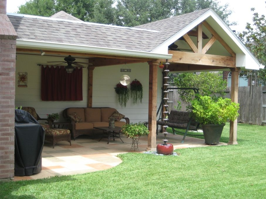 Custom Patio Cover And Porch Roof Addition With Chevron Pattern In Gable  And Pattern Concrete Patio