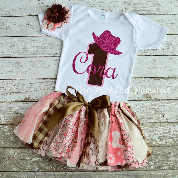 Pink Cowgirl Birthday Outfit Baby Tutu Dress Western 1st