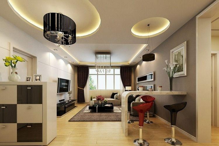 Indirekte Beleuchtung an der Decke in Form von Kreisen | Wohnidee ...