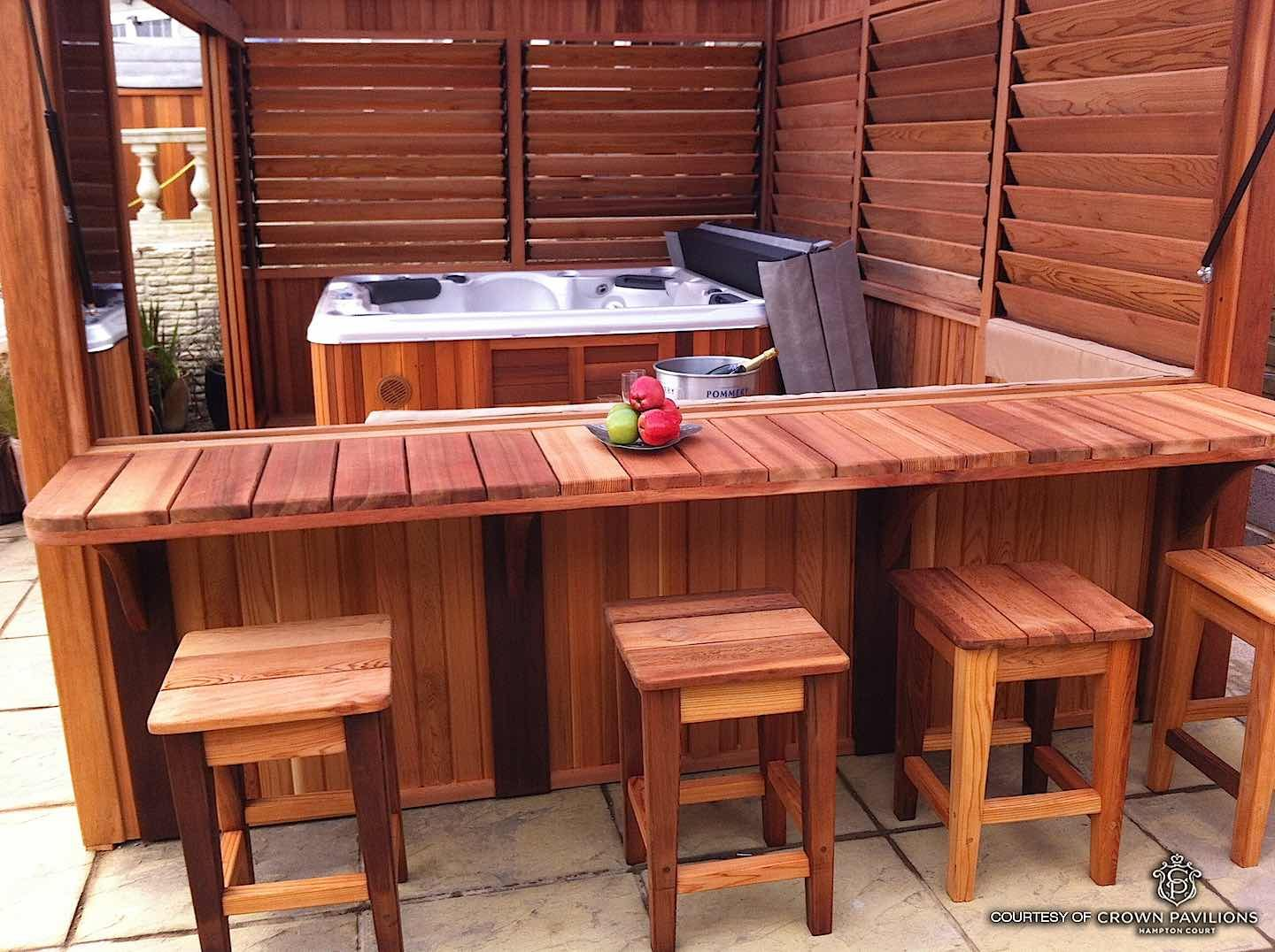 Some Of The Hot Tub X2f Spa Enclosures Built With The Flex Fence Hardware Kit Include A Louvered Cedar Spa Encl Hot Tub Gazebo Hot Tub Patio Hot Tub Outdoor