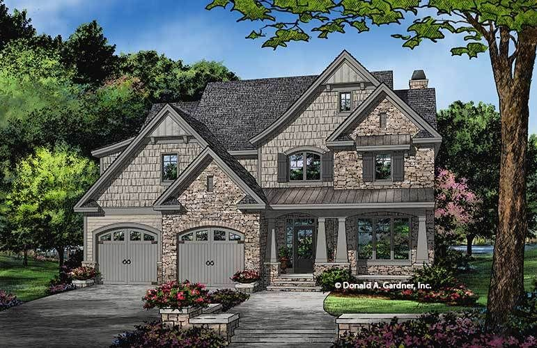 This Stone And Shake Home Plan Features A Whimsical Exterior With Sloping Gables Arch Craftsman Style House Plans Narrow Lot House Plans Craftsman House Plans