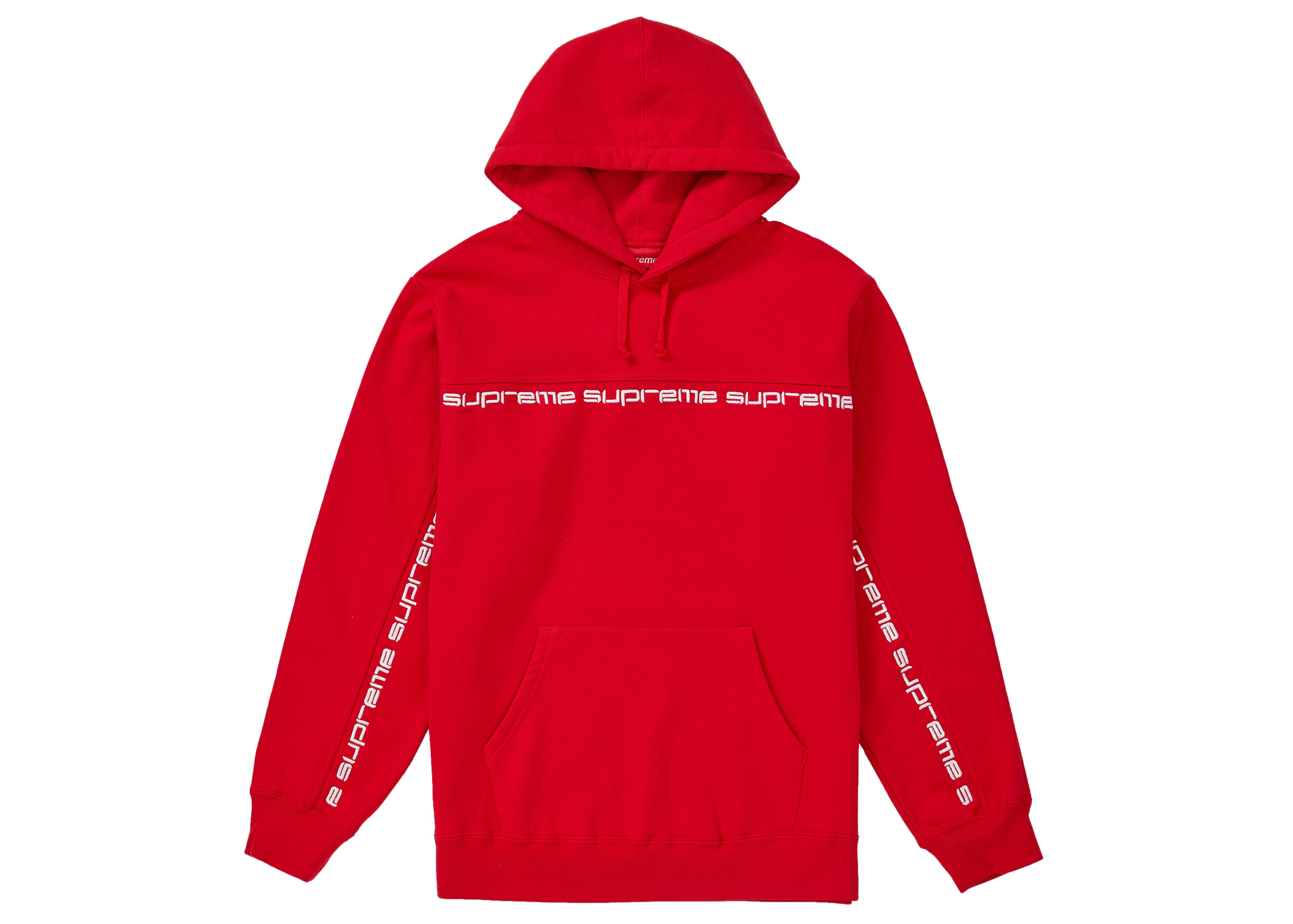 Supreme Text Stripe Hooded Sweatshirt Red Supreme Cloth [ 3841 x 5376 Pixel ]