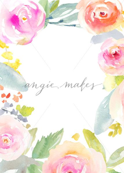 Watercolor Flower Background Frame Watercolour Flower Frame