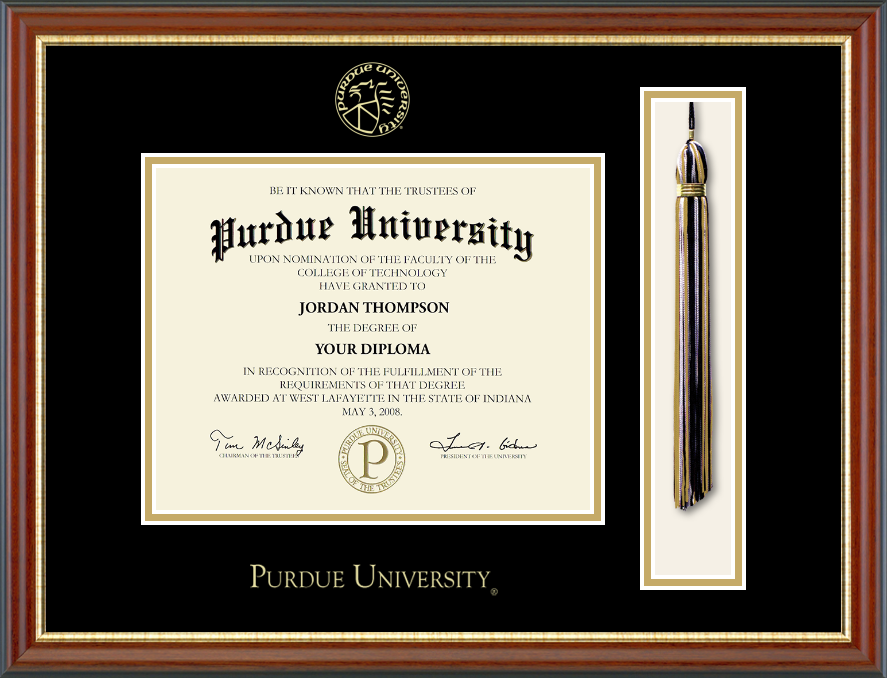 Purdue University Tassel Edition Diploma Frame In Newport With Black Gold Mats Diploma Frame Morrisville State College Diploma