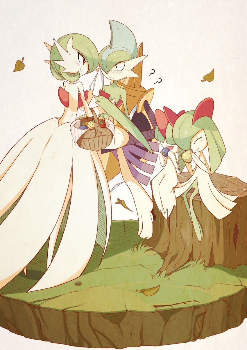 Gardevoir: mom, Gallade: dad, Raltz: baby, Kirlia: older sister