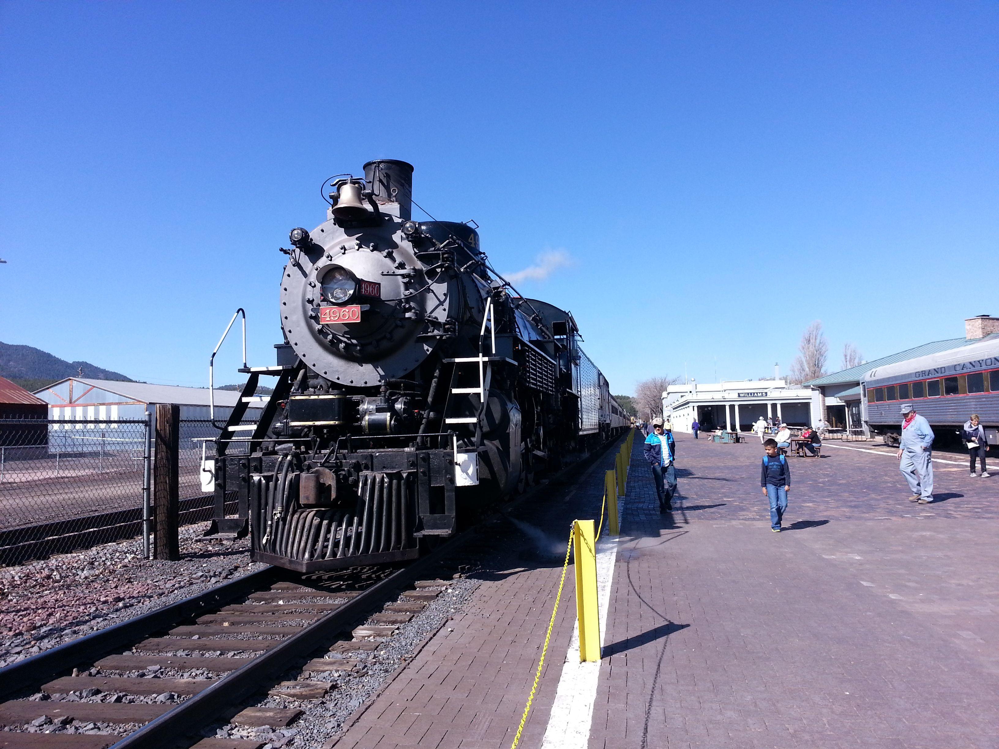 Grand Canyon railway train. Steam engine. Grand canyon
