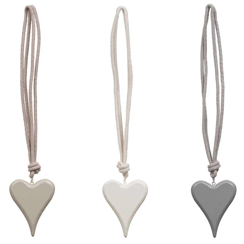 Wooden Heart Curtain Tie Backs 30cm Drop 100 Polyester 3