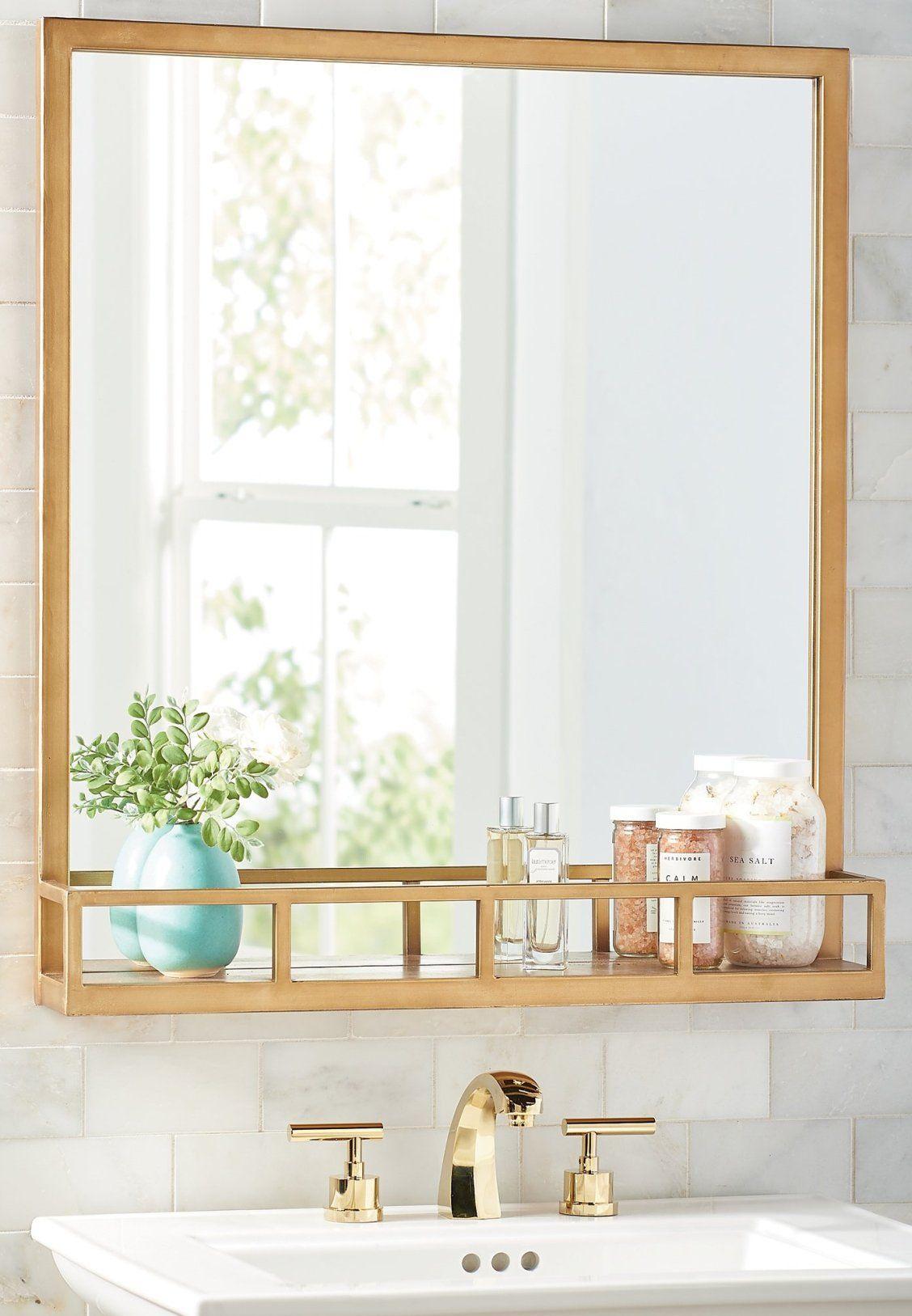 Antique Brass Mirror With Shelf Grandin Road Bathroom Mirror With Shelf Mirror With Shelf Brass Mirror