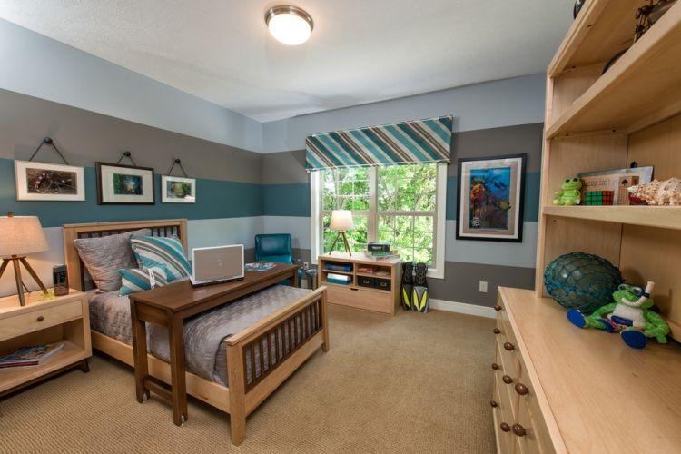 Wand Streichen Ideen Streifen Jugendzimmer Grau Blautoene Holzmoebel