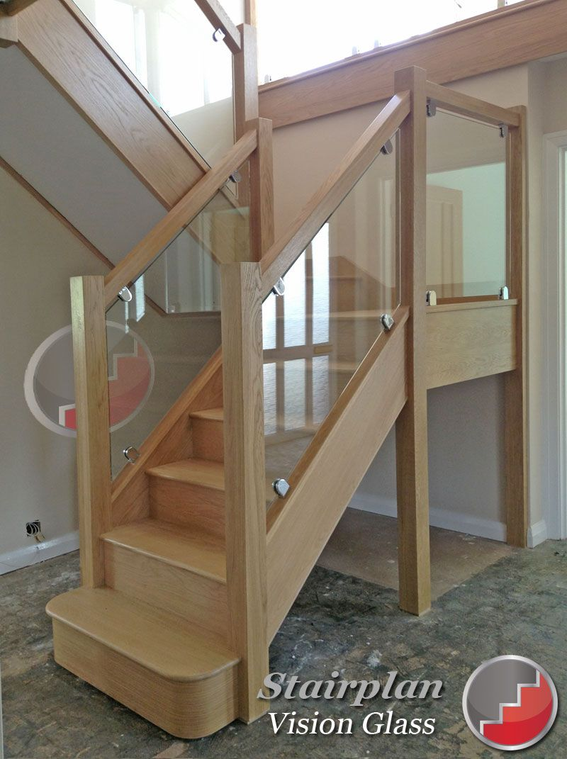 Oak Staircases With Glass Balustrade Panels Glass Staircase | Glass Staircase Panels Near Me | Glass Railing Systems | Wood | Spiral Staircase | Stair Parts | Stainless Steel