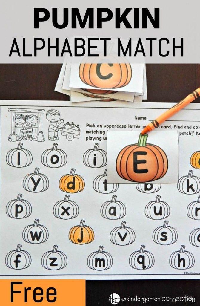 Pumpkin Alphabet Match   Educational Freebies   Pinterest   Kind