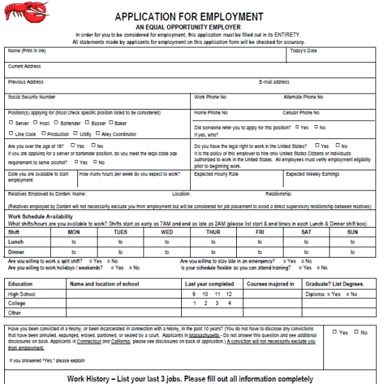 Pin By Diy Home Decor On Job Application Forms    Red