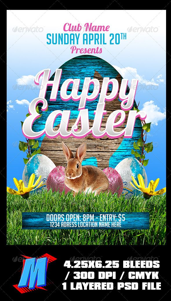 Happy Easter Flyer Template Flyer template, Happy easter and - easter flyer template