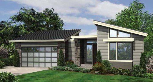 Fachada vivienda moderna techos inclinados for Fachadas viviendas modernas