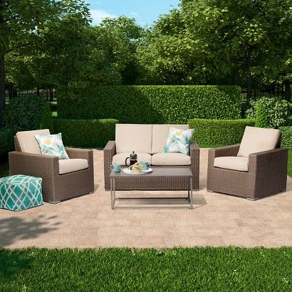 Threshold Heatherstone Patio Furniture Collection From Target   Loveseat  And Storage Trunk Coffee Table Or Two
