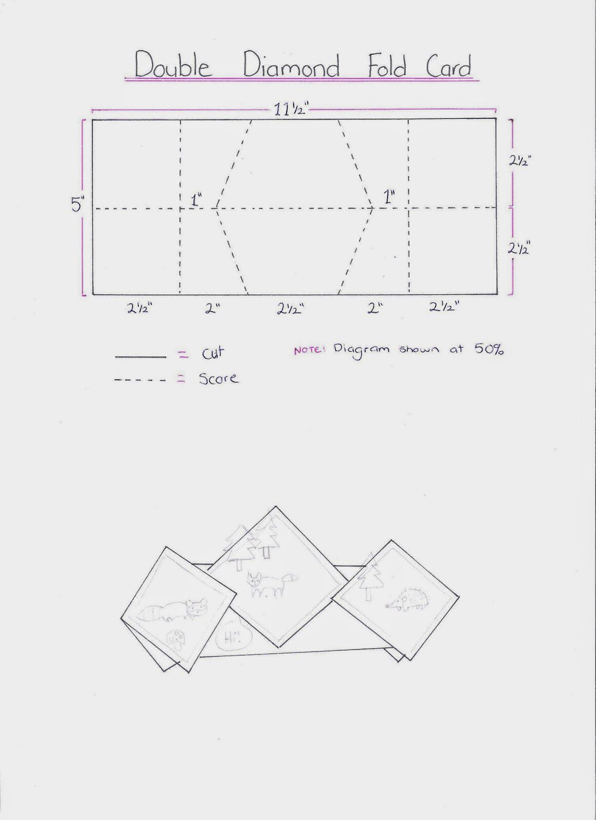 Double diamond fold card template found here: http ...