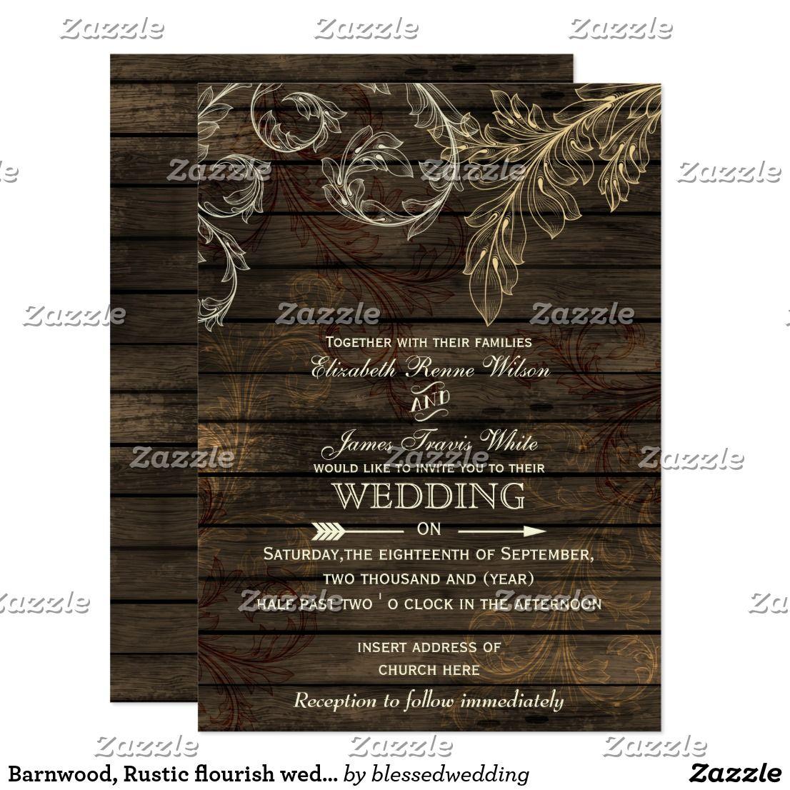 Barnwood, Rustic flourish wedding invitations | Best Invitations ...
