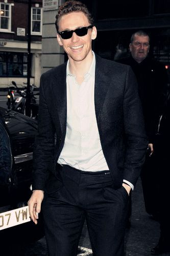 Tom Hiddleston arriving at the BBC Radio 2 Studios for an interview on the Breakfast Show on October 18, 2013