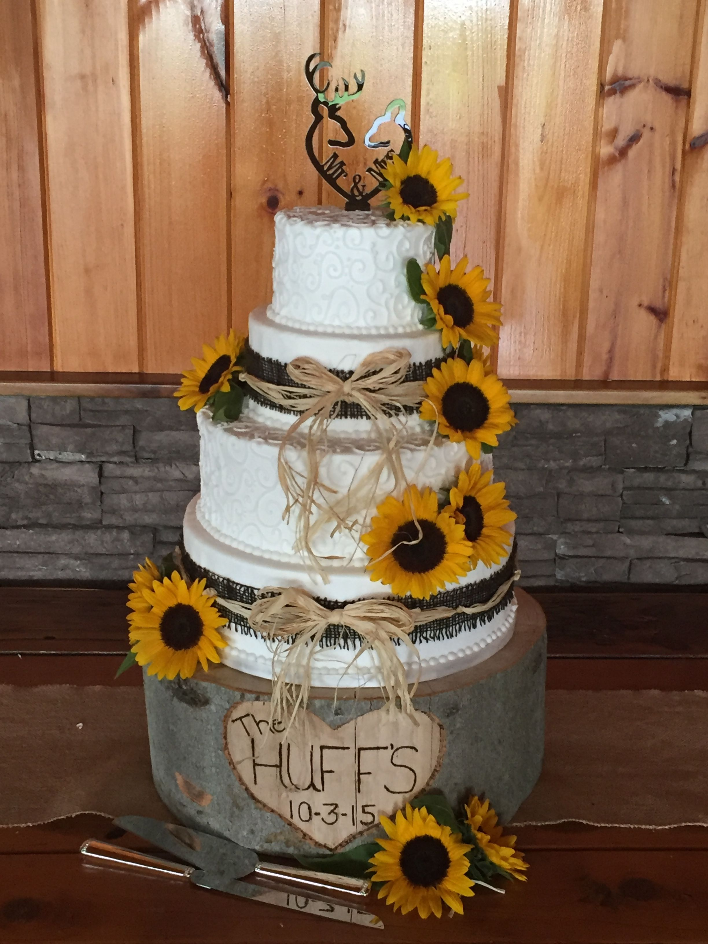 Four Tier Rustic Wedding Cake Almond Cream Icing Accented With