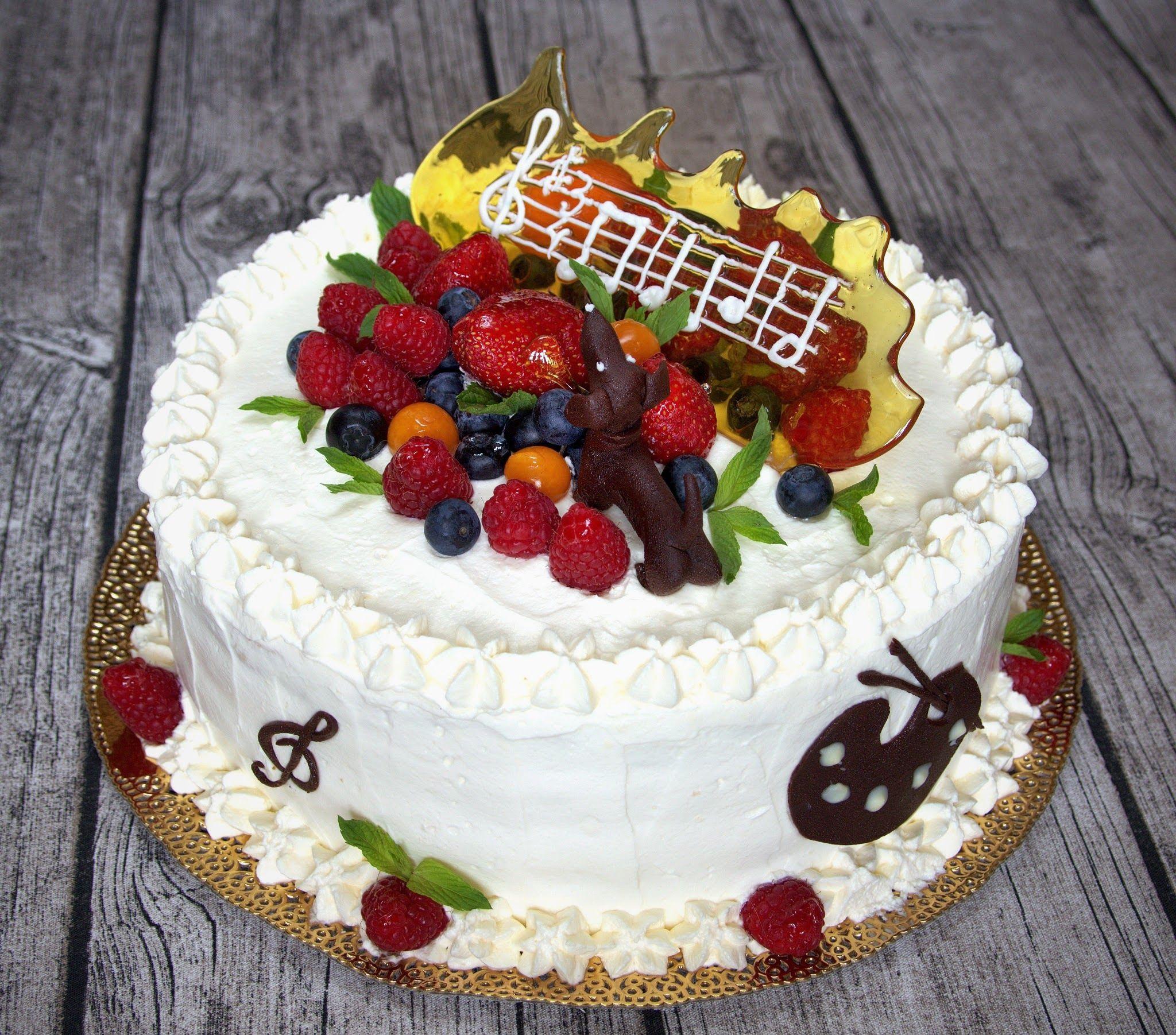 Фотография торта с днем рождения ручной работы