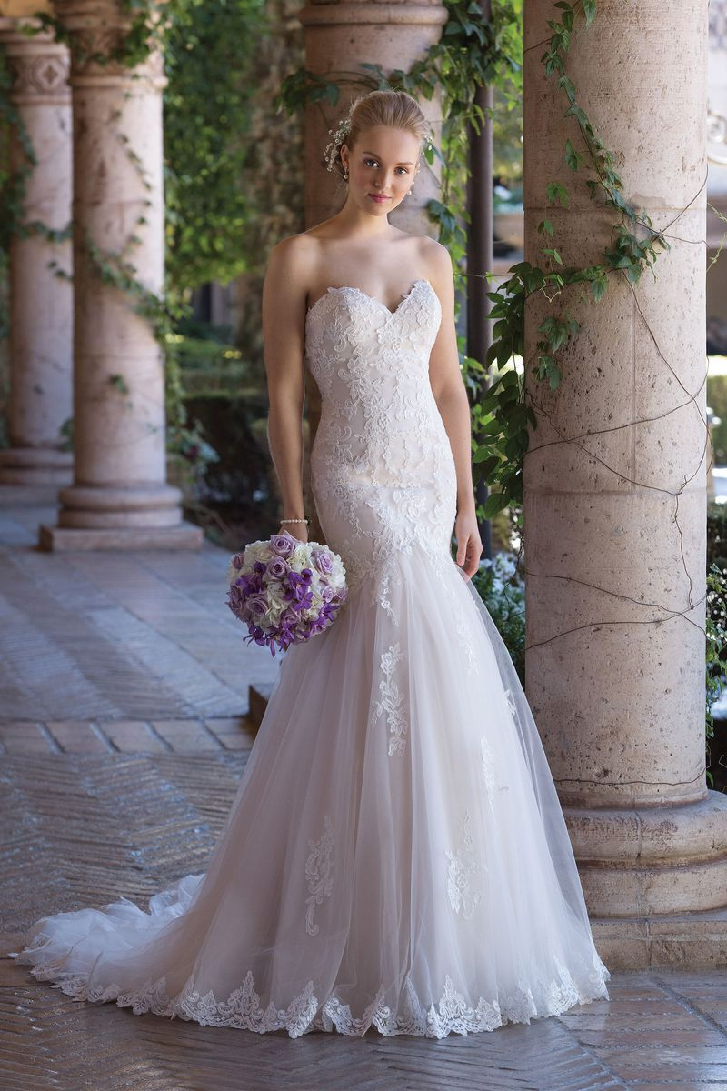 Style 4035 Corded Lace and Tulle Mermaid Gown with