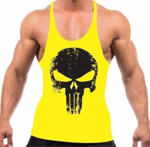 617957ce5d38e Aqui você encontra a Camiseta Regata Super Cavada Musculação Justiceiro  Modelo Masculino - Amarelo - 20% Off que é produzida em malha fria (67%  poliéster e ...