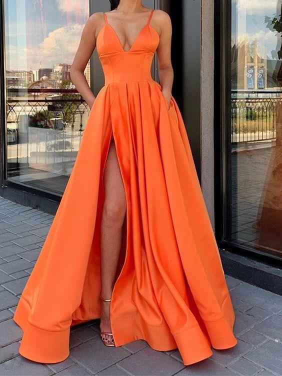 A Line V Neck Orange Long Prom Dress with Leg Slit Prom Dress  CR 1245 – Prom