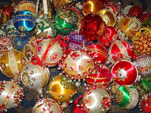 Christmas Vintage Ornament Lot 56 Beaded Sequined Bulbs Handmade Decoration Xmas Ebay Estilo
