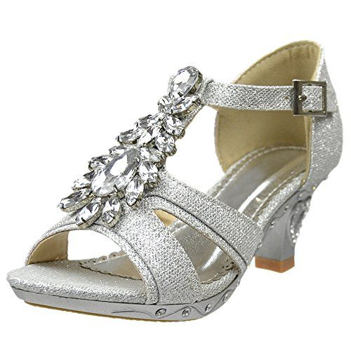 Kids Dress Sandals Open Toe Rhinestone Pageant Glitter High Heels Black