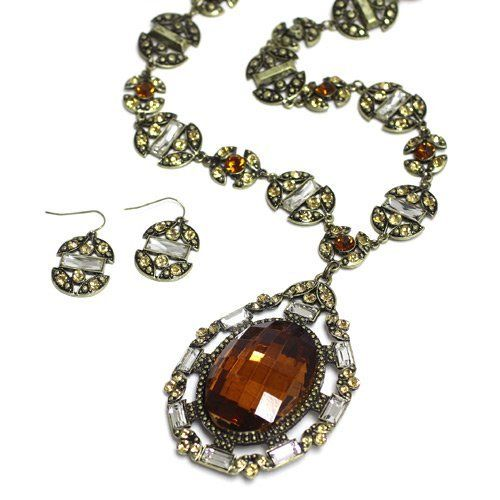 "Gemstone Pendant Necklace Set; 18""L Chain And 3.5""L Pendant; Burnished Gold Metal; Topaz Chunky Gemstone And Champagne Rhinestones; Lobster Clasp Closure; Matching Earrings Included; Eileen's Collection. $45.99. Save 49%!"