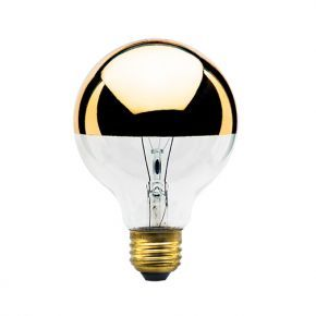 By Bulbrite. Half gold globe 40 Watts. Mirrored top reflects light, creating a soft, ambient effect. Perfect for base up overhead fixtures. Ideal for use in decorative lighting