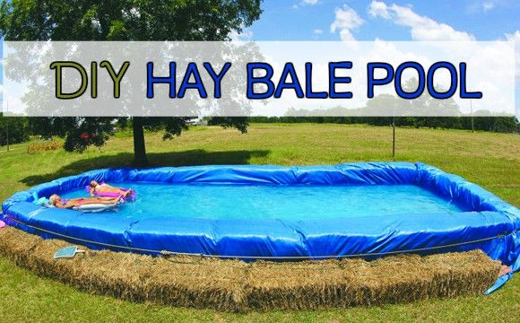 How to make a hay bale pool for summer diy piscinas - Redneck swimming pool with hay bales ...