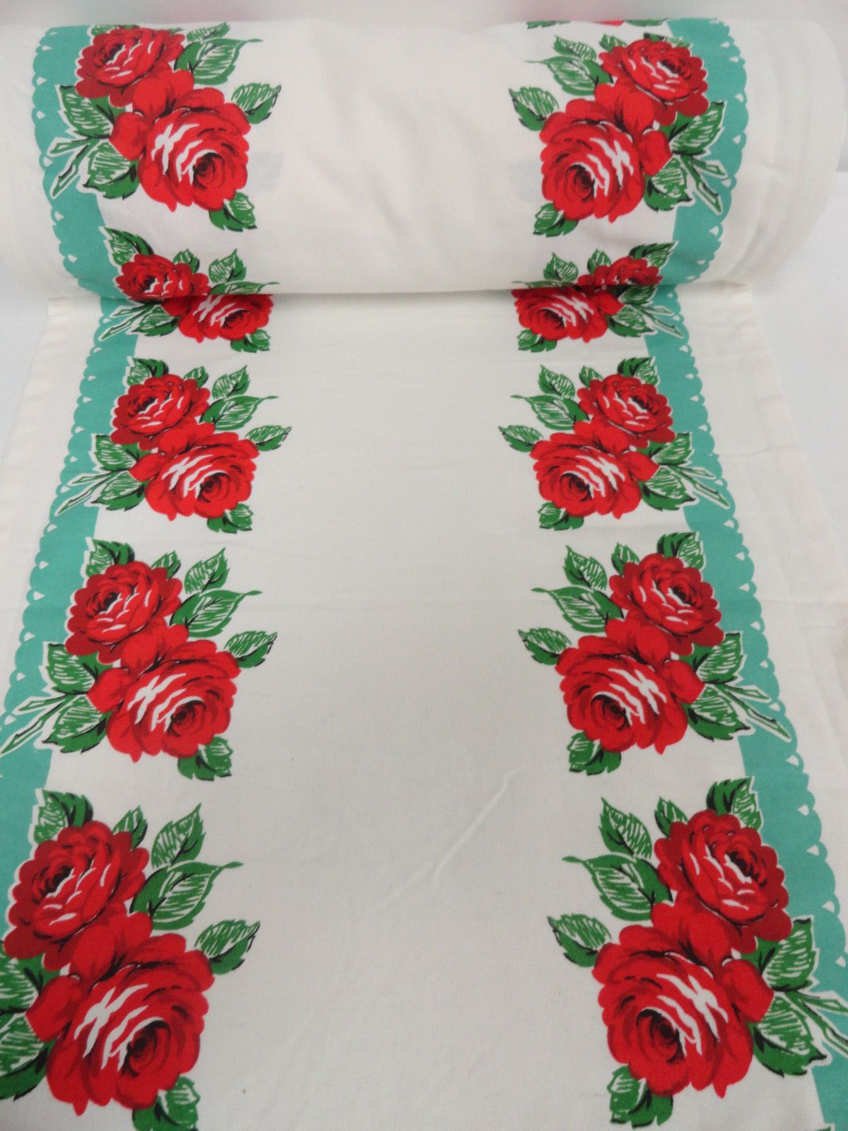 Vintage STYLE Kitchen Towel Fabric MODA HOME Aqua Rodeo Rose Western ...