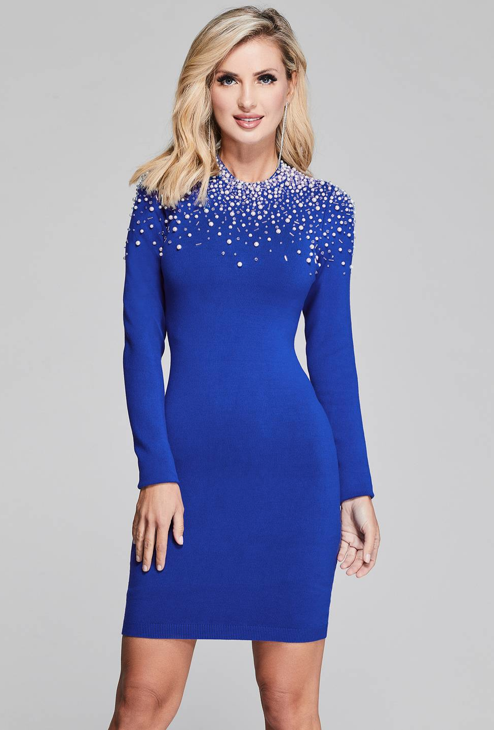 Blue sweater dress with pearl details by  marciano  fb576f90e