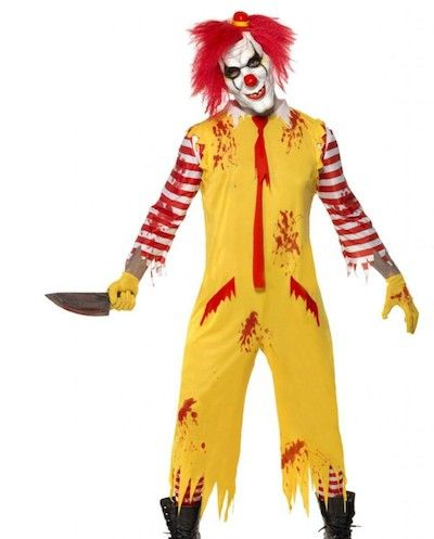 Adult Evil Clown Costume Killer Scary Halloween Fancy Dress Outfit Mens Womens
