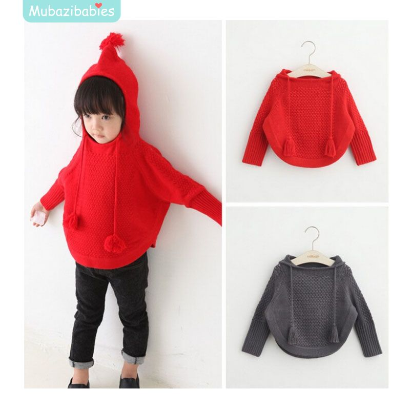 2015 Fashion Knitting Cloak Girls Knit Hooded Coat Red Girl Knitted Cardigan Long Sleeve Solid Children Sweater For Girls(China (Mainland))