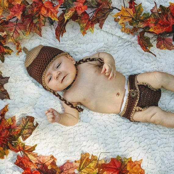 Photo of Acorn Ear Flap Hat and Diaper Cover Set – Fall – Photo Shoot Prop – Newborn to 0-3 Months