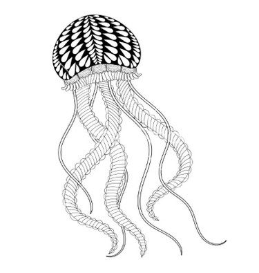 Awesome Sea Jellyfish Zentangle Coloring Page For Adult Home Design Ideas