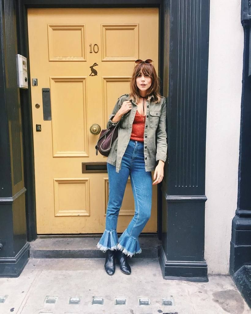 INSPIRE ME This girl can do no wrong. Megan Ellaby of Pages by Megan, aka girl crush EVERY SEASON. Manchester-based blogger Megan rocking flare hem high waisted Farleigh jeans with a khaki jacket and orange top for a modern seventies look.