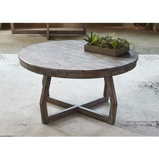 Hayden Way Gray Wash Reclaimed Wood Round Cocktail Table by